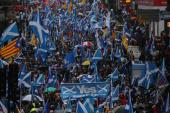 Демонстранты маршируют за независимость Шотландии. через центр Глазго, Шотландия, Великобритания, 11 января 2020 г. [File: Russell Cheyne/Reuters]