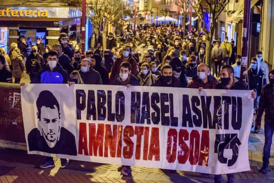 Народный митинг в поддержку Пабло Хазеля в Бискайе в регионе Басков.