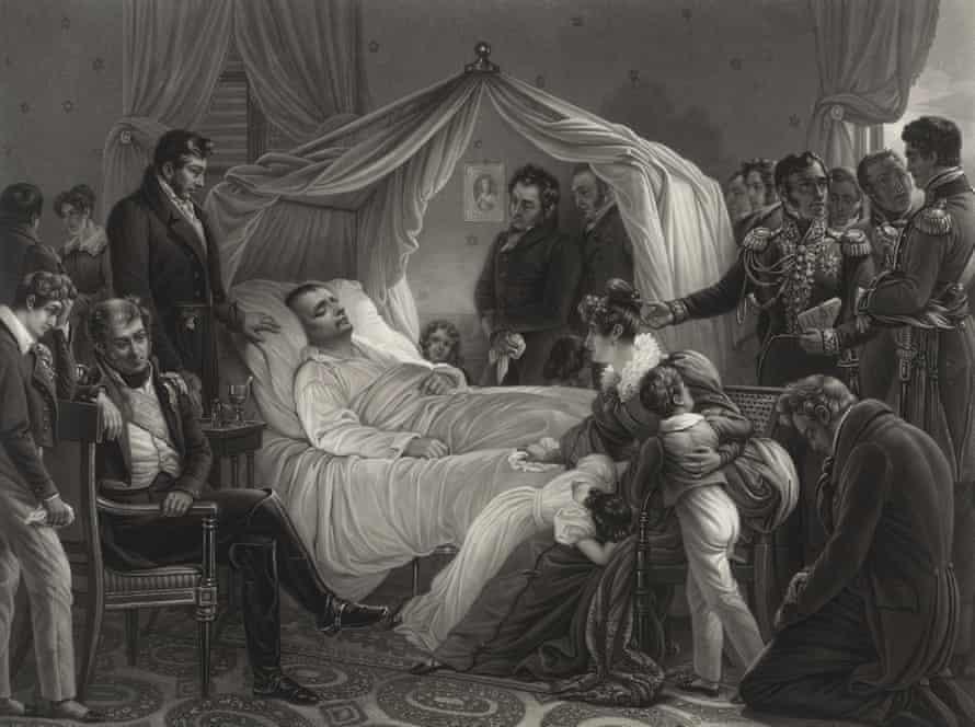 Наполеон на смертном одре, в окружении друзей, акватинта Жана Пьера Мари Жазе по картине Карла фон Штойбена.